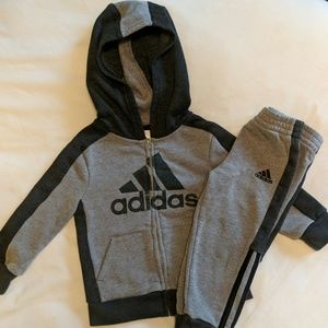 Boys Adidas sweat suit grey joggers